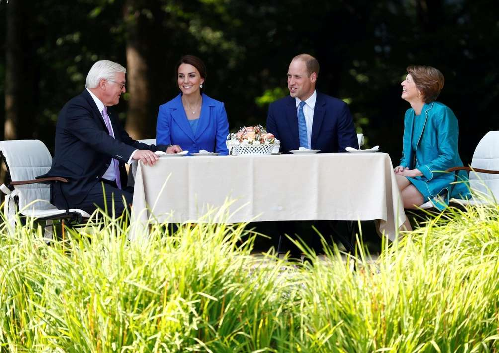Britain's Prince William and his wife Kate, the