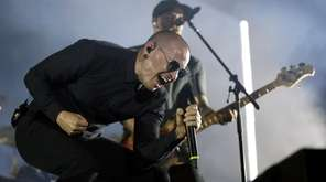 Linkin Park singer Chester Bennington on stage in