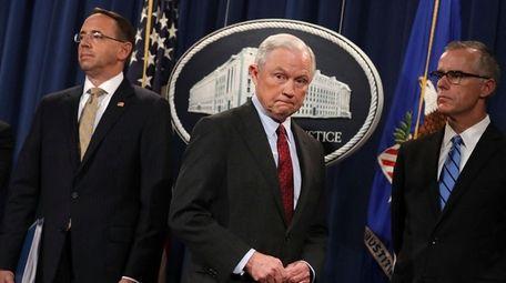 From left, Deputy Attorney General Rod Rosenstein, U.S.