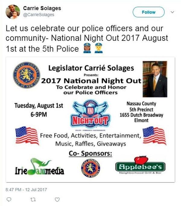 An earlier tweet by Nassau County Legis. Carrié