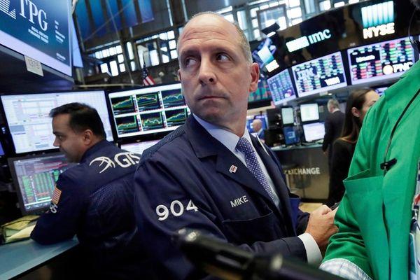Trader Michael Urkonis on works on the floor