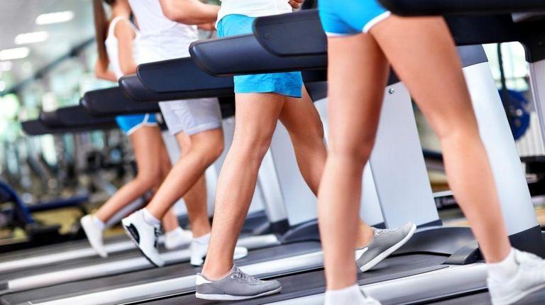 A row of treadmills.