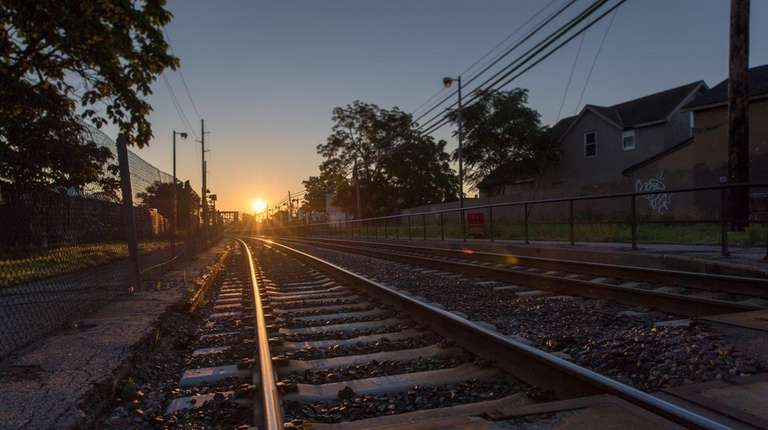 The LIRR tracks at the Bay Shore LIRR