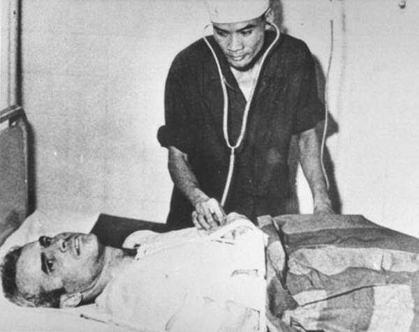 John McCain in a Hanoi hospital during the
