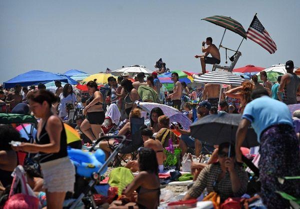 Lifeguards at Jones Beach State Park watch over