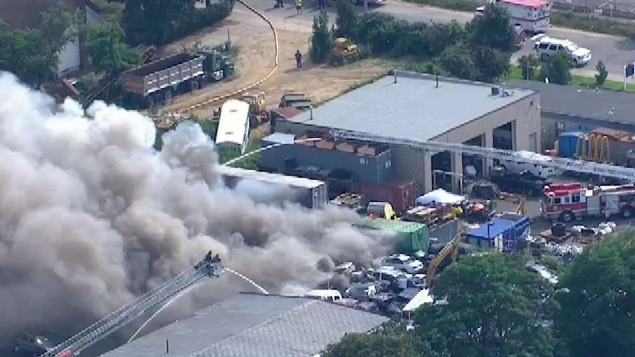 A fire broke out at an auto junkyard