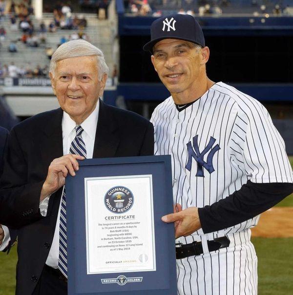 Sportscaster Bob Wolff is honored by Joe Girardi