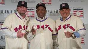 Baseball Hall of Fame inductees, from left, Jeff
