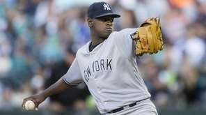 Luis Severino of the Yankees delivers against the