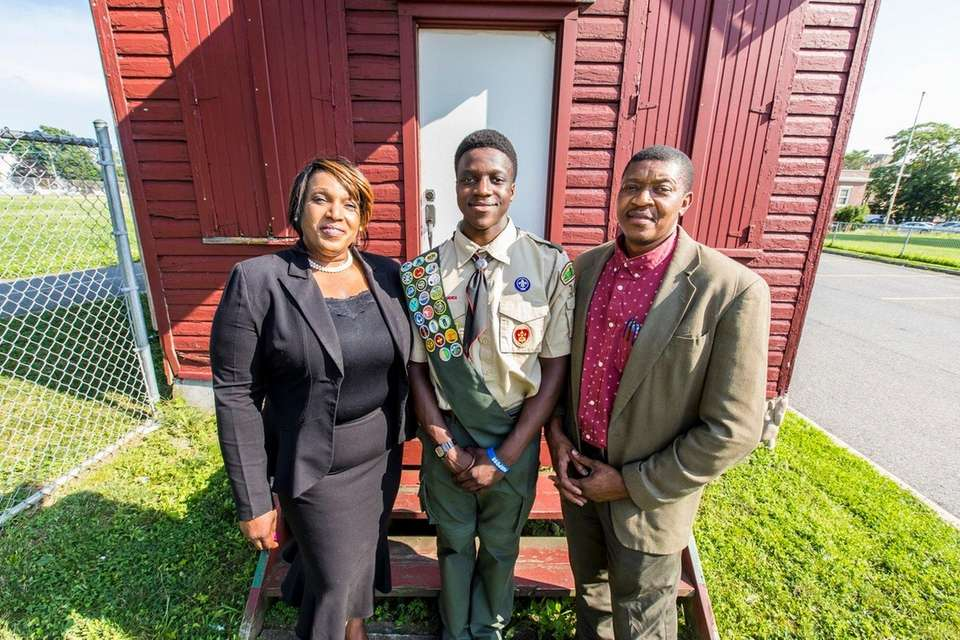Denzel Honore of Hempstead's Boy Scout Troop 300