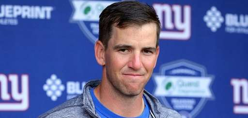Giants quarterback Eli Manning during minicamp at the Quest
