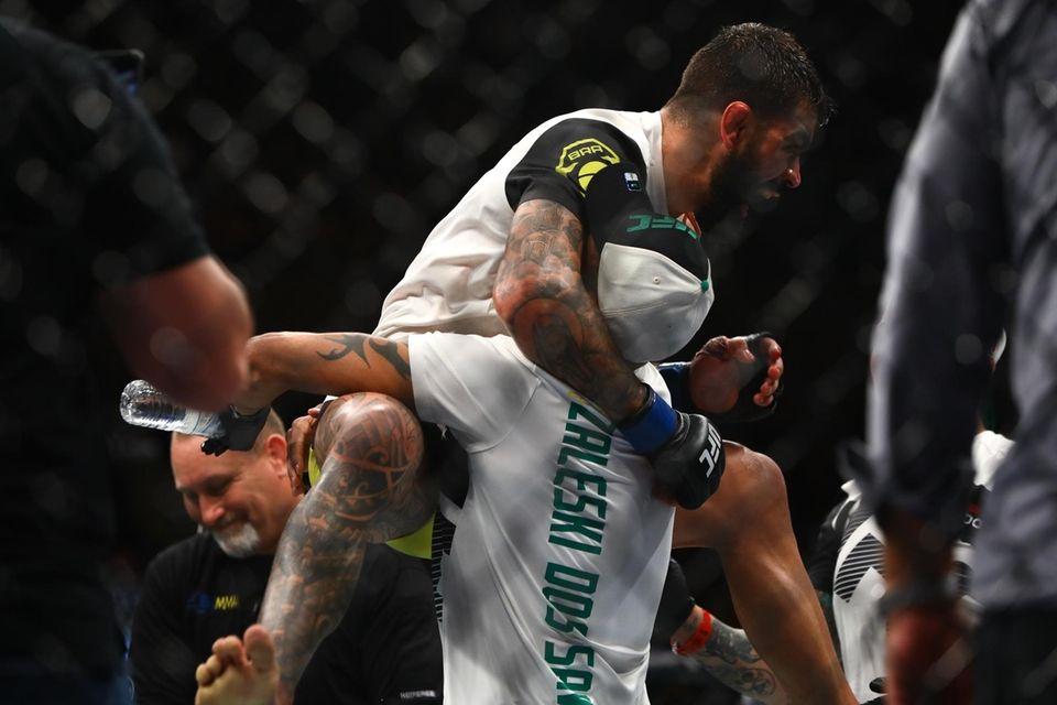 Welterweight Elizeu Zaleski dos Santos celebrates after defeating
