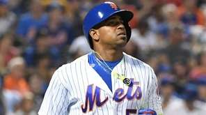 Mets leftfielder Yoenis Cespedes reacts against the Athletics at