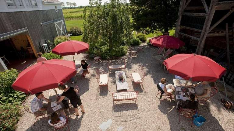 The courtyard at Croteaux Vineyards in Southold, pictured