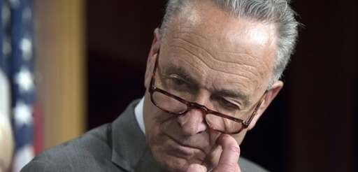 Senate Minority Leader Chuck Schumer pauses during a