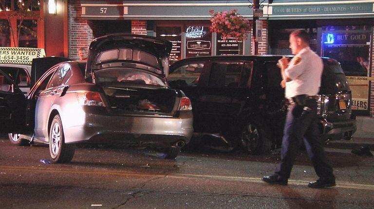 Police at the scene of a crash in