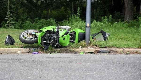 A motorcyclist was injured after crashing into a