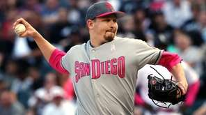 San Diego Padres starting pitcher Trevor Cahill works