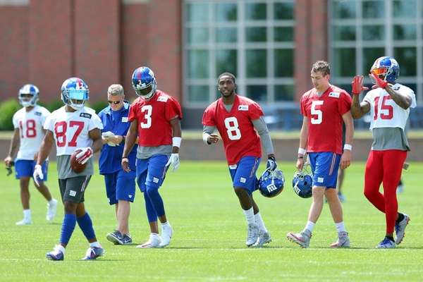 From left, Sterling Shepard, Geno Smith, Josh Johnson, Davis Webb and Brandon
