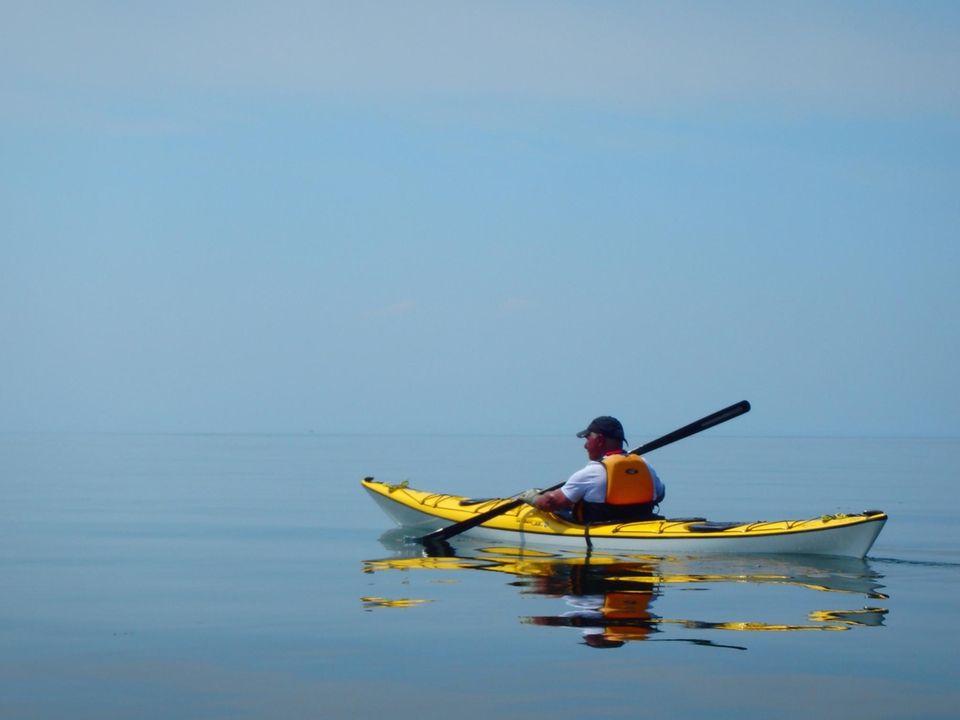 Vin Basileo paddling on the Long Island Sound