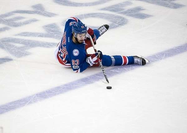 The Rangers' Mika Zibanejad loses his footing while