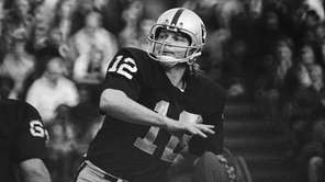 Oakland Raiders quarterback Ken Stabler looks to pass