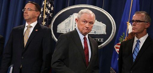 Deputy Attorney General Rod Rosenstein, left, Attorney General