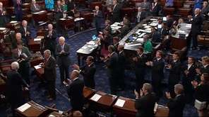 Sen. John McCain arrived in the Senate Chamber