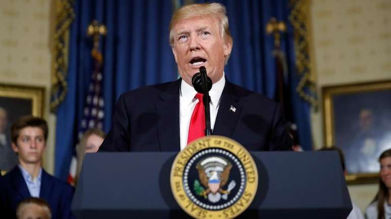 President Donald Trump speaks during an event about