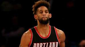 Allen Crabbe of the Trail Blazers celebrates his