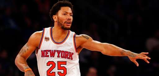 Derrick Rose of the Knicks reacts against the 76ers