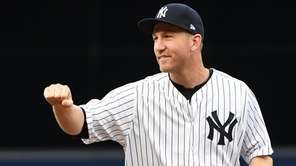 New York Yankees third baseman Todd Frazier reacts