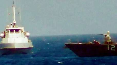 This video image shows a boat from Iran's