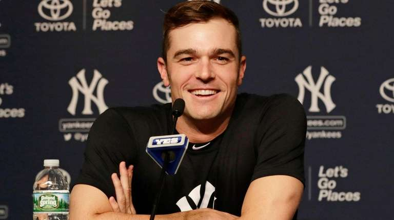 Yankees reliever David Robertson speaks during a news