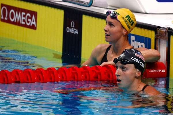 Joint silver medalists Emma McKeon of Australia, left,