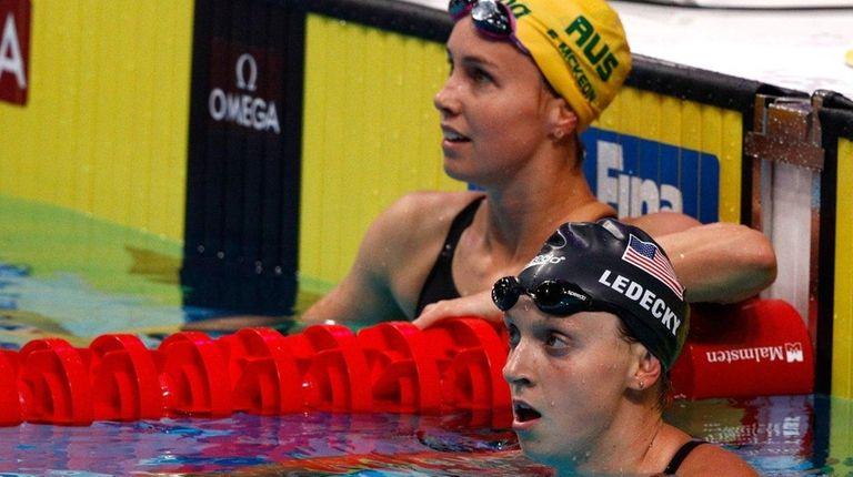 Joint silver medalists Emma McKeon of Australia, left,