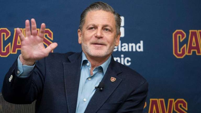 Cavaliers chairman Dan Gilbert answers questions during a