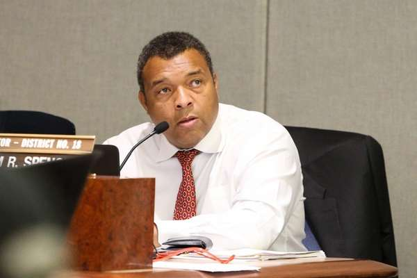 Suffolk County Legislator William Spencer speaks during a