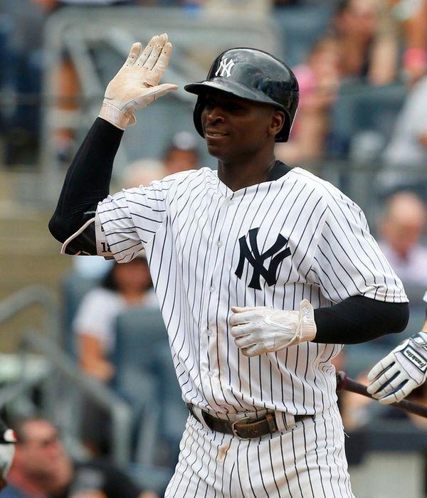 Didi Gregorius of the Yankees celebrates his home