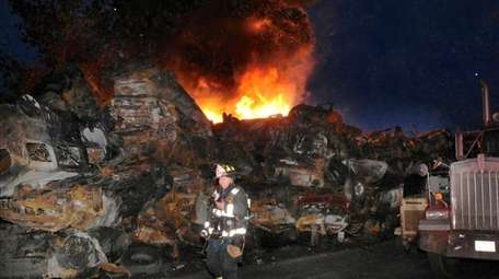 The fire at a Wyandanch recycling yard on