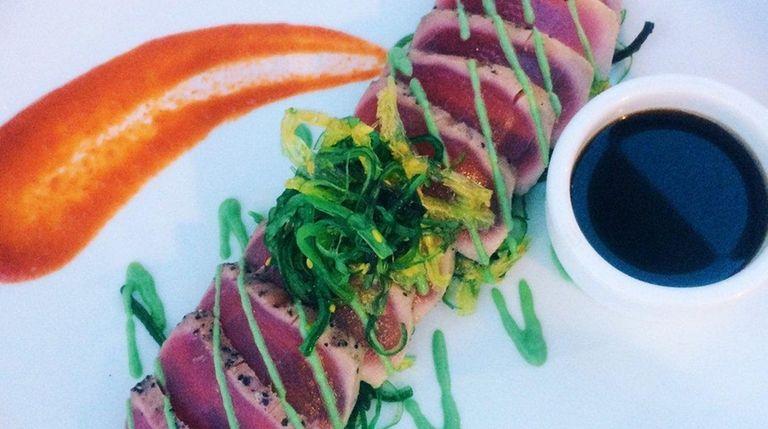 The seared ahi tuna in ponzu sauce at