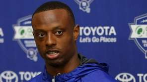Giants cornerback Eli Apple speaks to the media