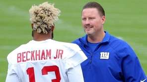 Giants head coach Ben McAdoo speaks to  wide
