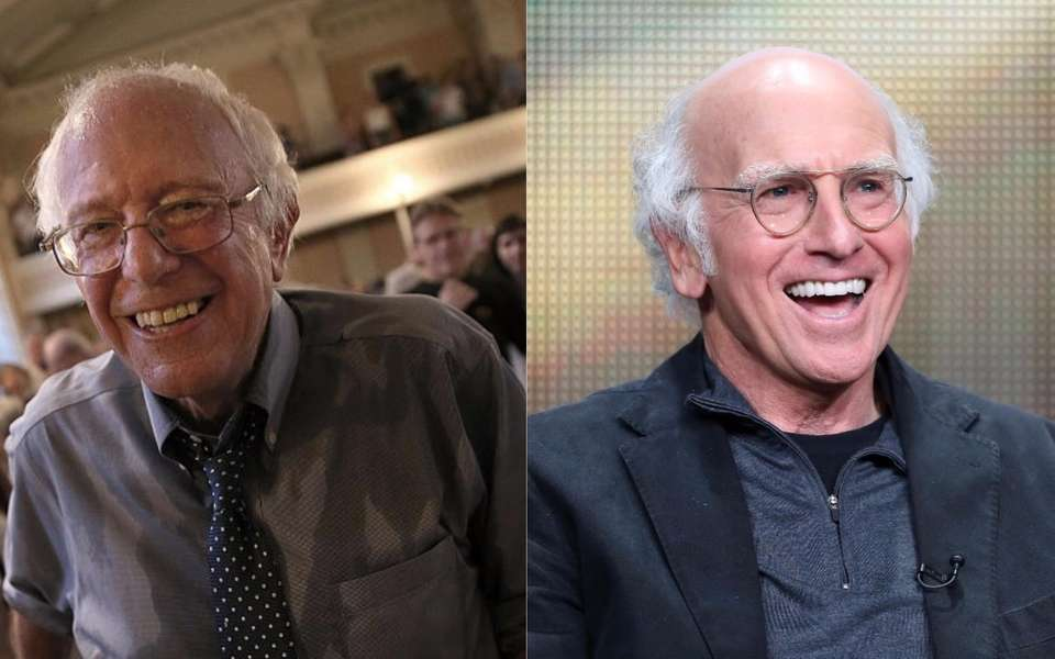 Vermont senator Bernie Sanders, left, and comedian Larry