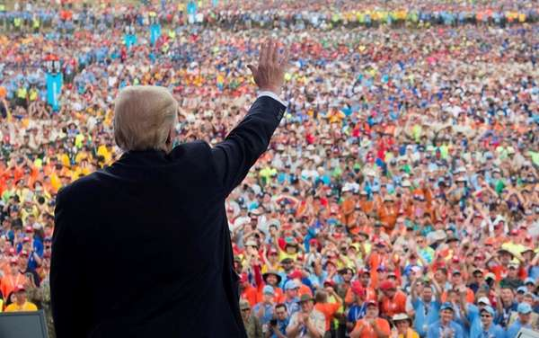 President Donald Trump speaks to Boy Scouts during