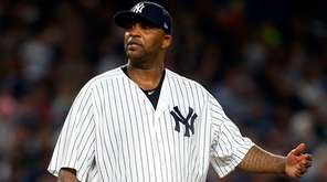 CC Sabathia of the Yankees reacts against the Rays at
