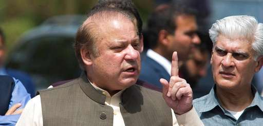 Pakistani Prime Minister Nawaz Sharif speaks to reporters