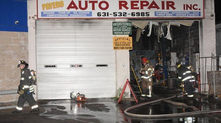 Firefighters respond to a blaze at Payero Auto