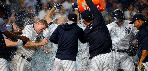 The New York Yankees celebrate Brett Gardner's 11th