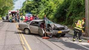 Firefighters respond to a crash on  Ridge Road